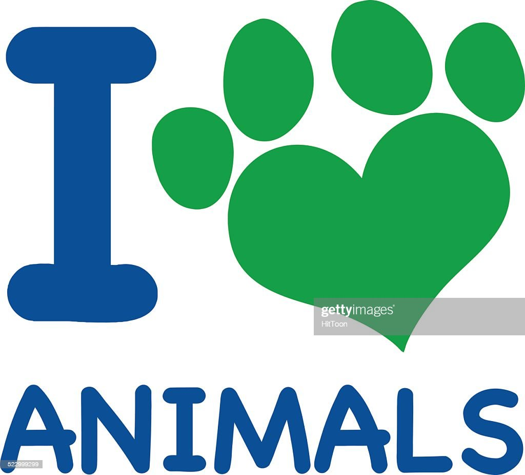 I Love Animals Text Blue With Green Heart Paw Print Vector Art