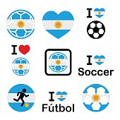 I love Argentine football, soccer icons set
