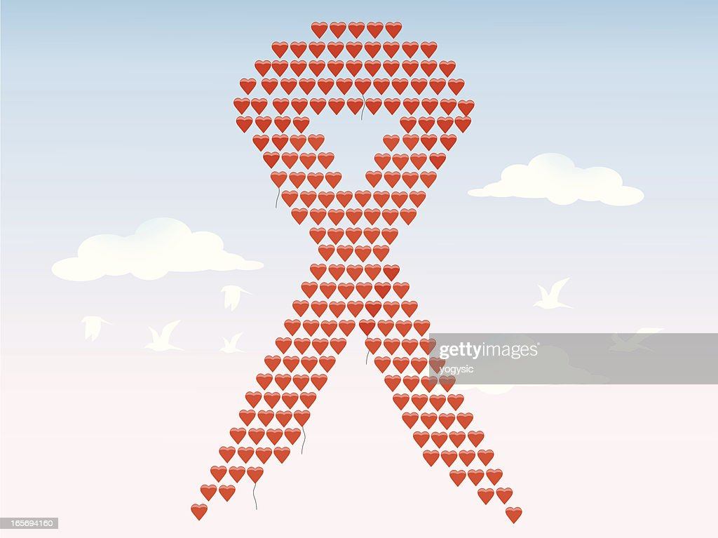 Love Balloons Hiv Aids Ribbon Vector Art Getty Images