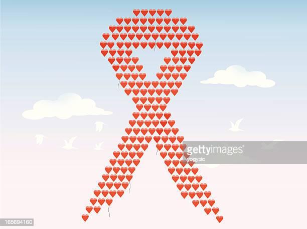 Amor balões de fita da SIDA pelo VIH