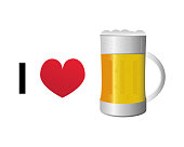 I love beer vector icon