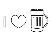 I love beer vector line icon