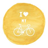 Love bicycle on yellow watercolor background1
