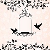 love birds and floral pattern in pink background