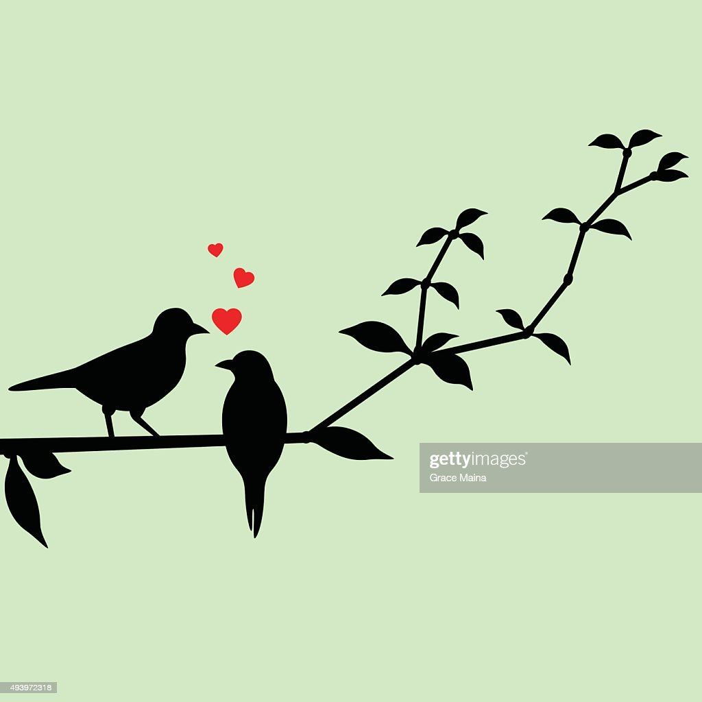 Love birds on a tree branch : stock illustration