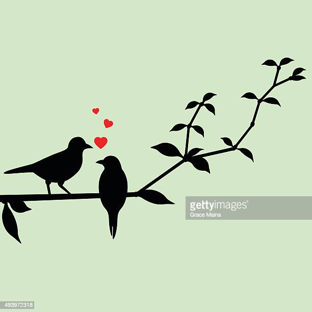 love birds on a tree branch - flirting stock illustrations, clip art, cartoons, & icons