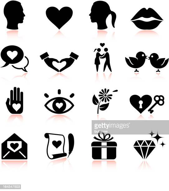 Love black and white royalty free vector icon set