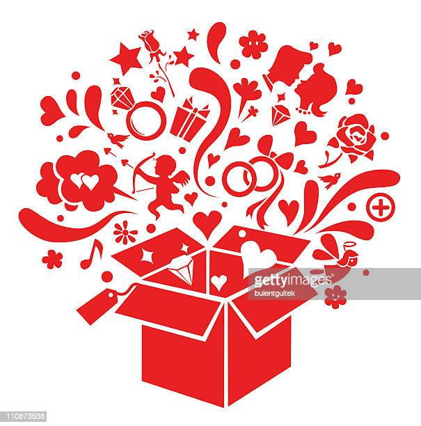 love box - gift tag note stock illustrations, clip art, cartoons, & icons