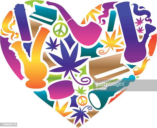 love cannabis - pipe smoking pipe stock illustrations, clip art, cartoons, & icons