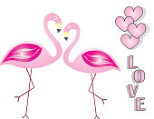 love card with flamingos vector - Valentines day card