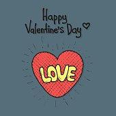 Love cartoon explosion. Heart typography.