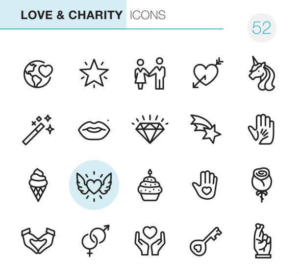 love & charity - pixel perfect icons - lips stock illustrations