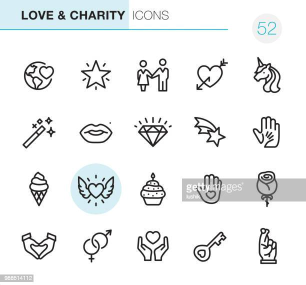 love & charity - pixel perfect icons - unicorn stock illustrations