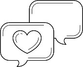 Love chat vector line icon