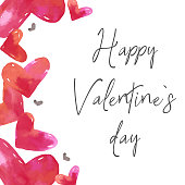 Love clipart, San Valentine's day card, card template, watercolor hearts hand drawn. Red watercolor illustration.