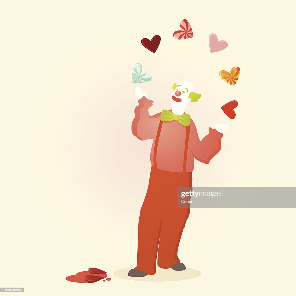 Love clown juggling a variety of hearts