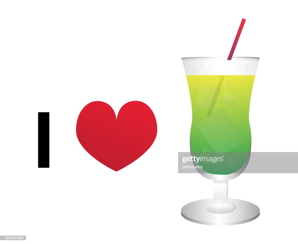 I love cocktail vector icon