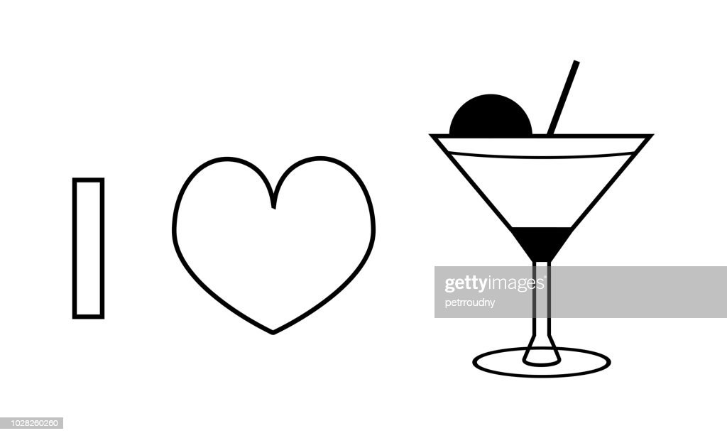 I love cocktail vector line icon