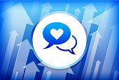 Love Communication Blue Up Arrows Background