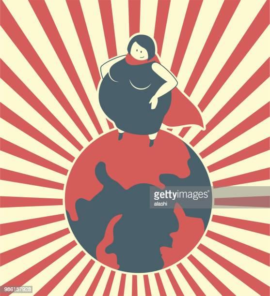 コンセプト、地球 (妊娠) の上に立って将来スーパー母が大好き