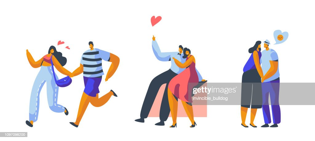 Love Couple Character Dating Set. Happy Lover Hug, Kiss, Sitting on Park Bench Isolated. Woman Man Romantic Flirt Conversation at Valentine Day Concept Vector Flat Cartoon Illustration