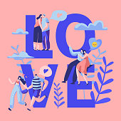 Love Couple Character Dating Typography Banner. Happy Lover Hug, Kiss, Sitting on Park Bench. Woman Man Romantic Flirt Conversation Concept for Vertical Poster Vector Flat Cartoon Illustration