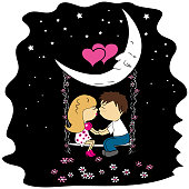 Love couple sitting at night on a swing attached to the moon.