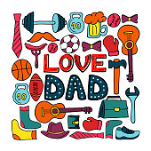 Love Dad holiday banner in doodle style. Men s lifestyle, sports equipment, clothes and accessories.