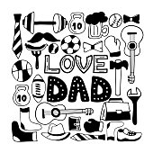 Love Dad holiday banner in doodle style. Men's lifestyle, sports equipment, clothes and accessories.