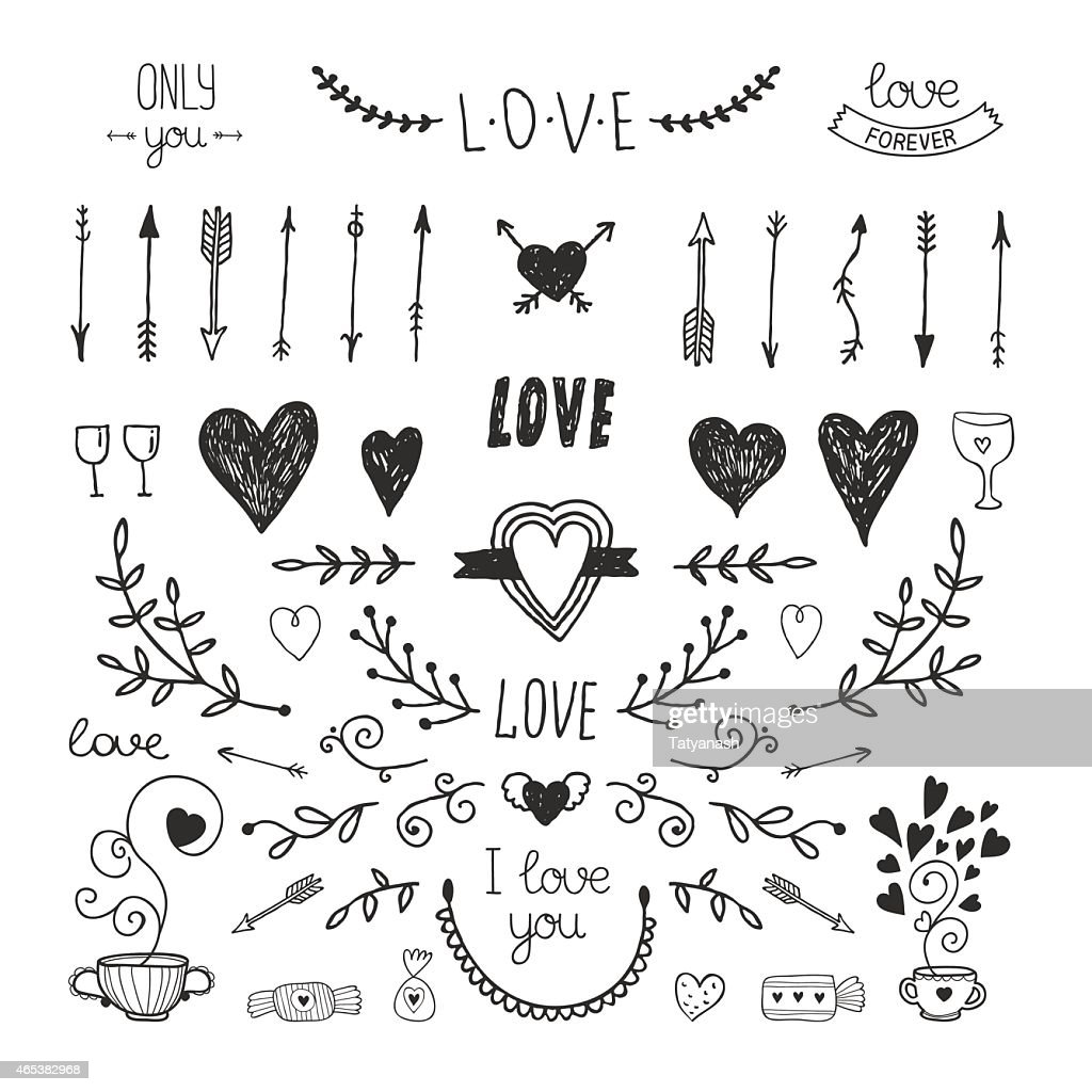 Love decorative elements, hand drawn collection