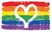 LGBTQ Love Flag Vector Hand Painted with Rounded Brush