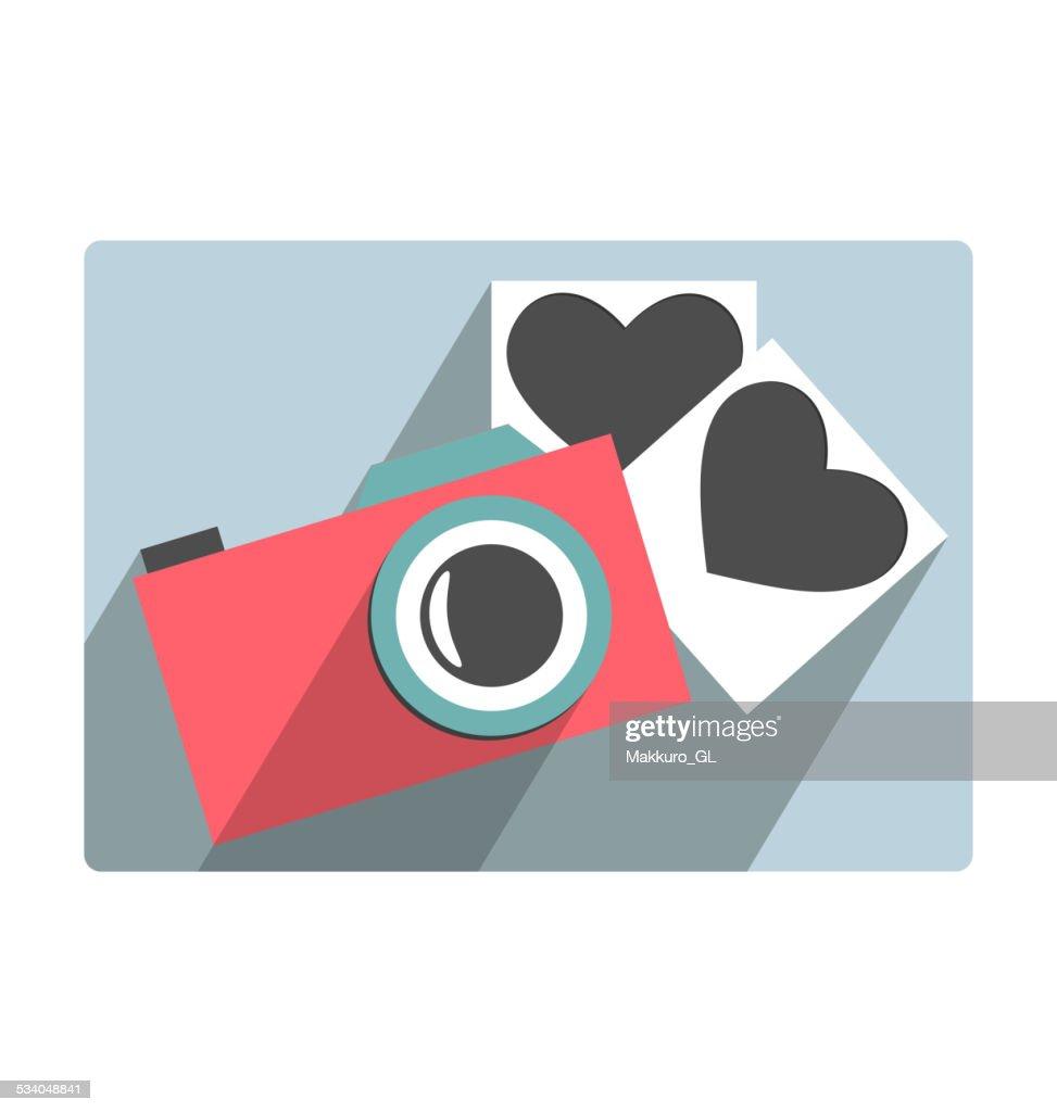 Love flat photo camera with hearts photo frames