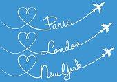 Love flying, Paris, London, New York, vector set