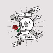 Love Forever, Skull and Rose with Ribbon
