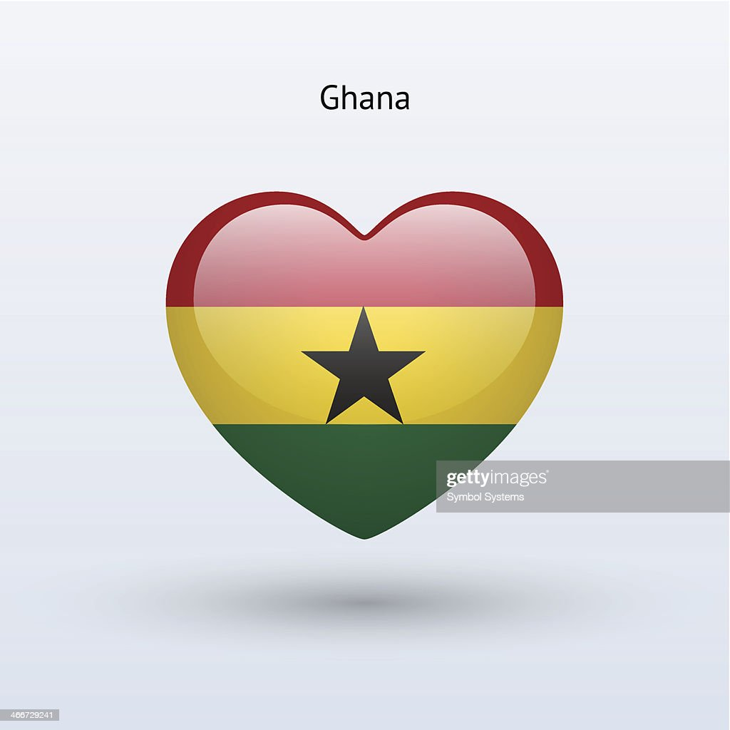 Love Ghana symbol. Heart flag icon.