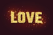 Love golden glow background for Valentines day.