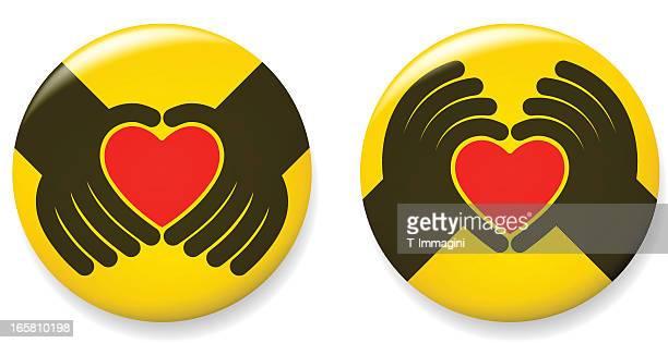 love hand pins - hände verschränken stock-grafiken, -clipart, -cartoons und -symbole