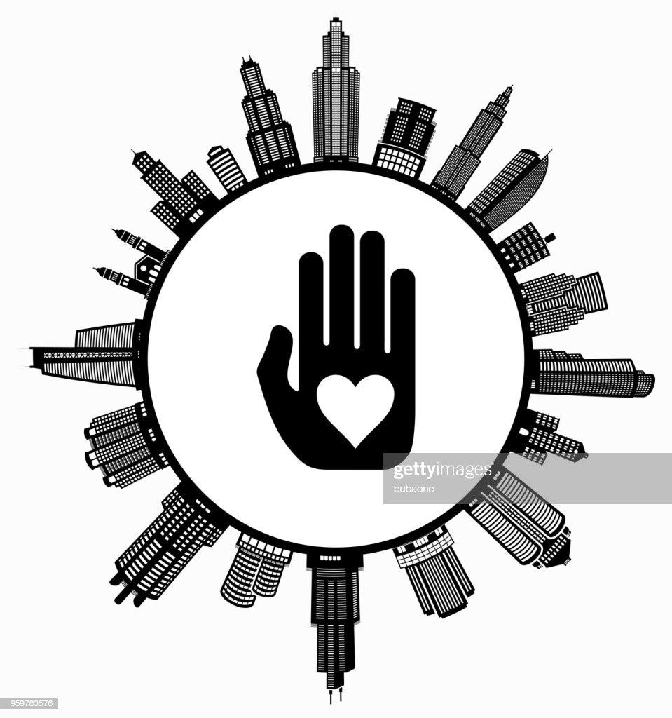 Liebe Hände auf modernen Stadtbild Skyline Hintergrund : Stock-Illustration