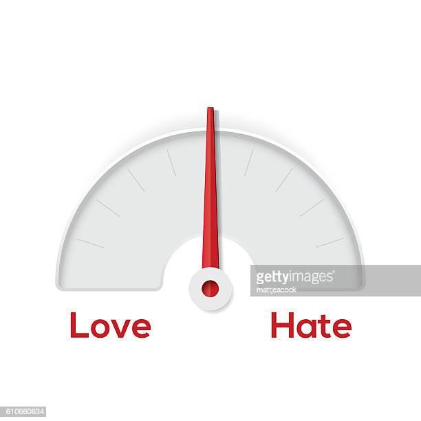 love hate indicator gauge - furious stock illustrations