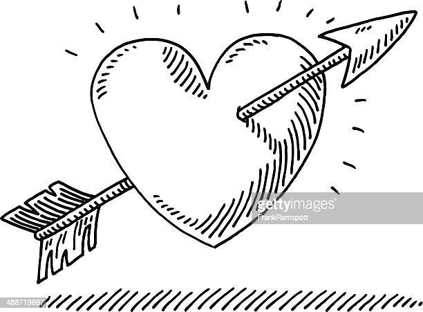 stockillustraties, clipart, cartoons en iconen met love heart arrow drawing - cupidon