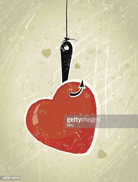 Amor coração apanhados no Anzol de Pesca