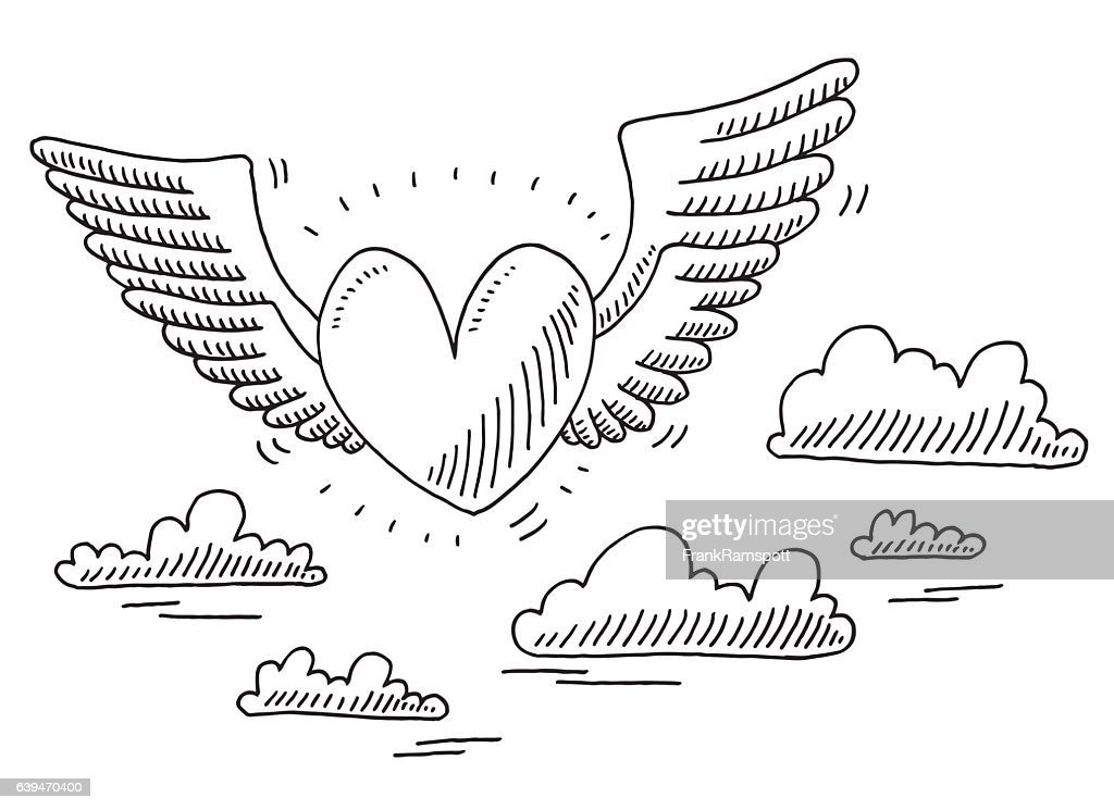 Love Heart Flying In The Air Drawing High Res Vector Graphic