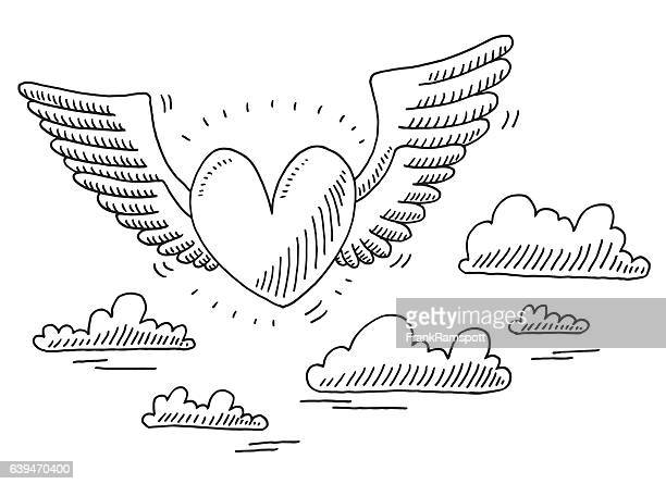 ilustraciones, imágenes clip art, dibujos animados e iconos de stock de love heart flying in the air drawing - diseño de trazado