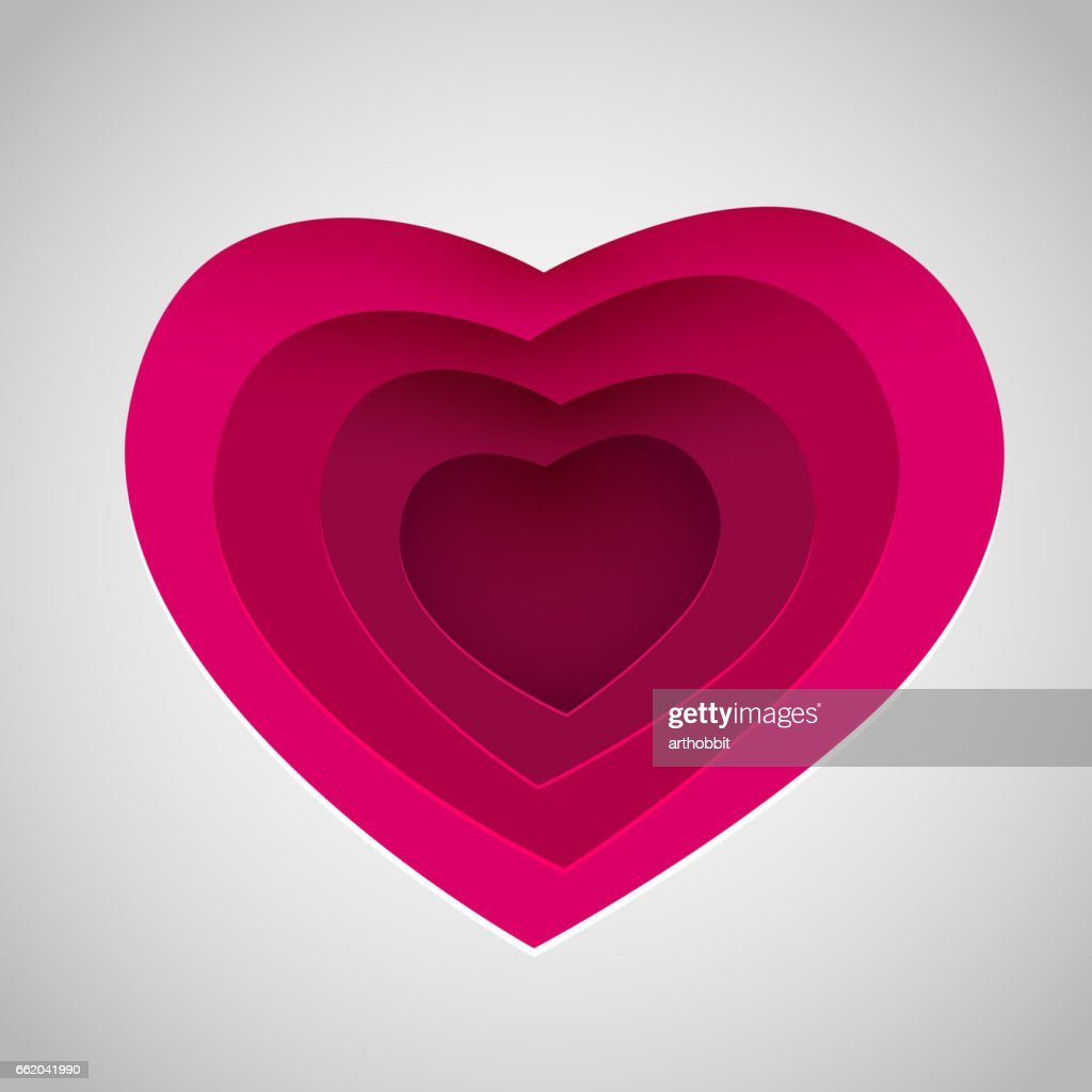 Love Heart Form Paper Cut Style Valentines Day Card Vector ...