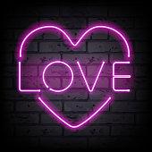 Love heart neon sign vector illustration.