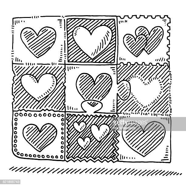 love heart pattern drawing - quilt stock illustrations, clip art, cartoons, & icons