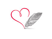 Love heart red calligraphic sign drawn by feather pen. Greeting