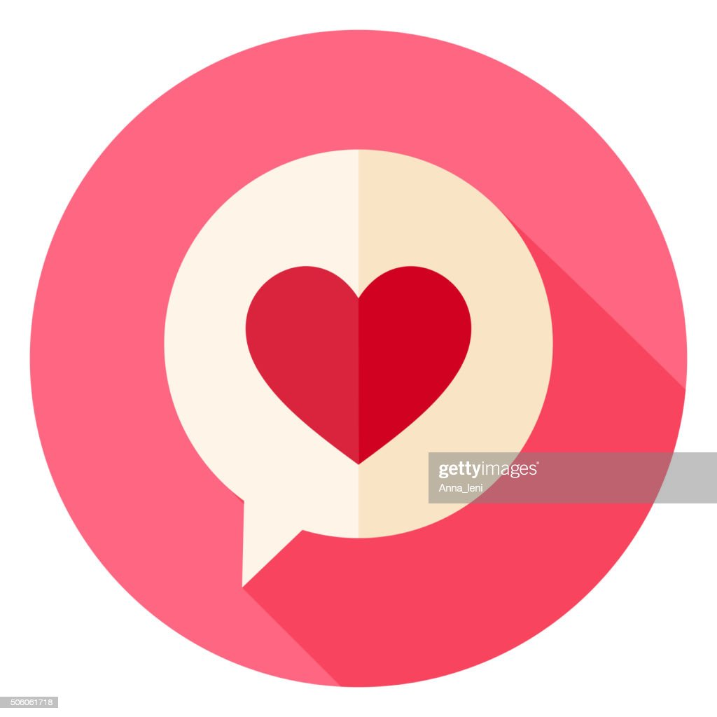 Love Heart Speech Bubble Circle Icon with long Shadow