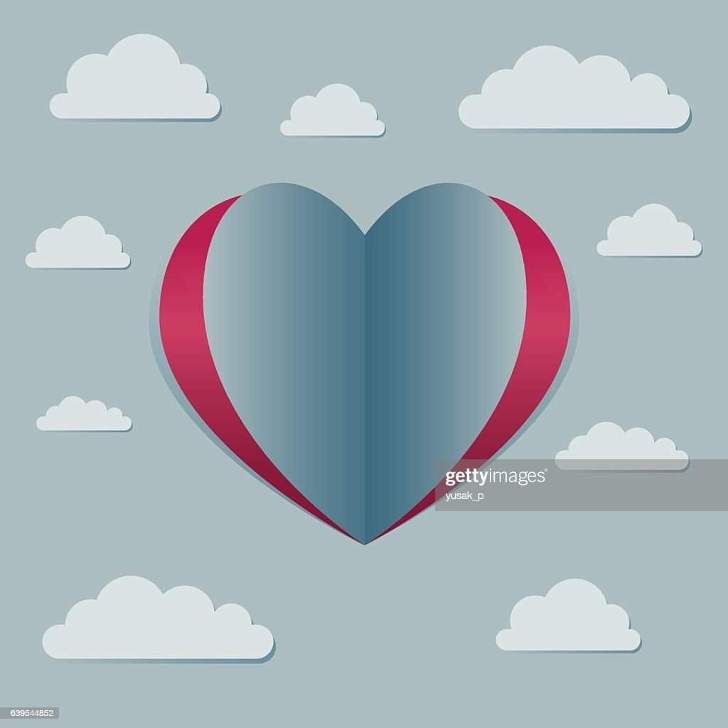 Love Heart Symbol With Clouds in The Sky