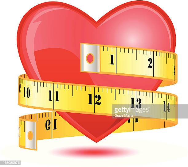 love heart with a tape measure - vector - meter instrument of measurement stock illustrations